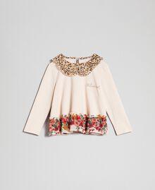 Bluse mit Animal-Dessin am Kragen und Blumenmuster am Rumpfsaum Print Leopard / Blumen Kind 192GB2571-01