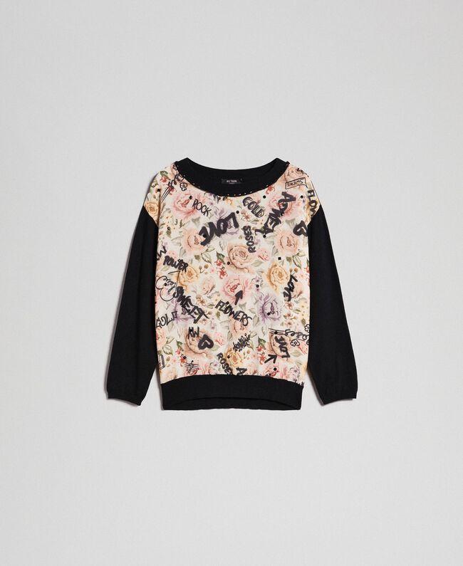 Pullover mit Blumen-Graffiti-Print und Strass Print Flow / Graffiti Vanille Frau 192MP3020-0S