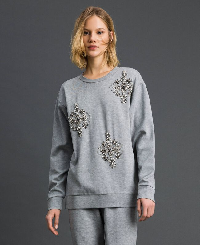 Sweatshirt with stone and pearl embroidery Melange Grey Woman 192LI2UGG-03