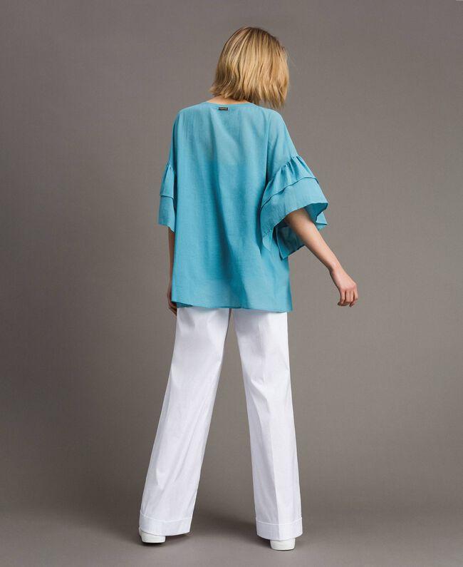 """Bluse mit weiten Ärmeln und Volants """"Daylight Blue"""" Blau Frau 191LM2HCC-03"""