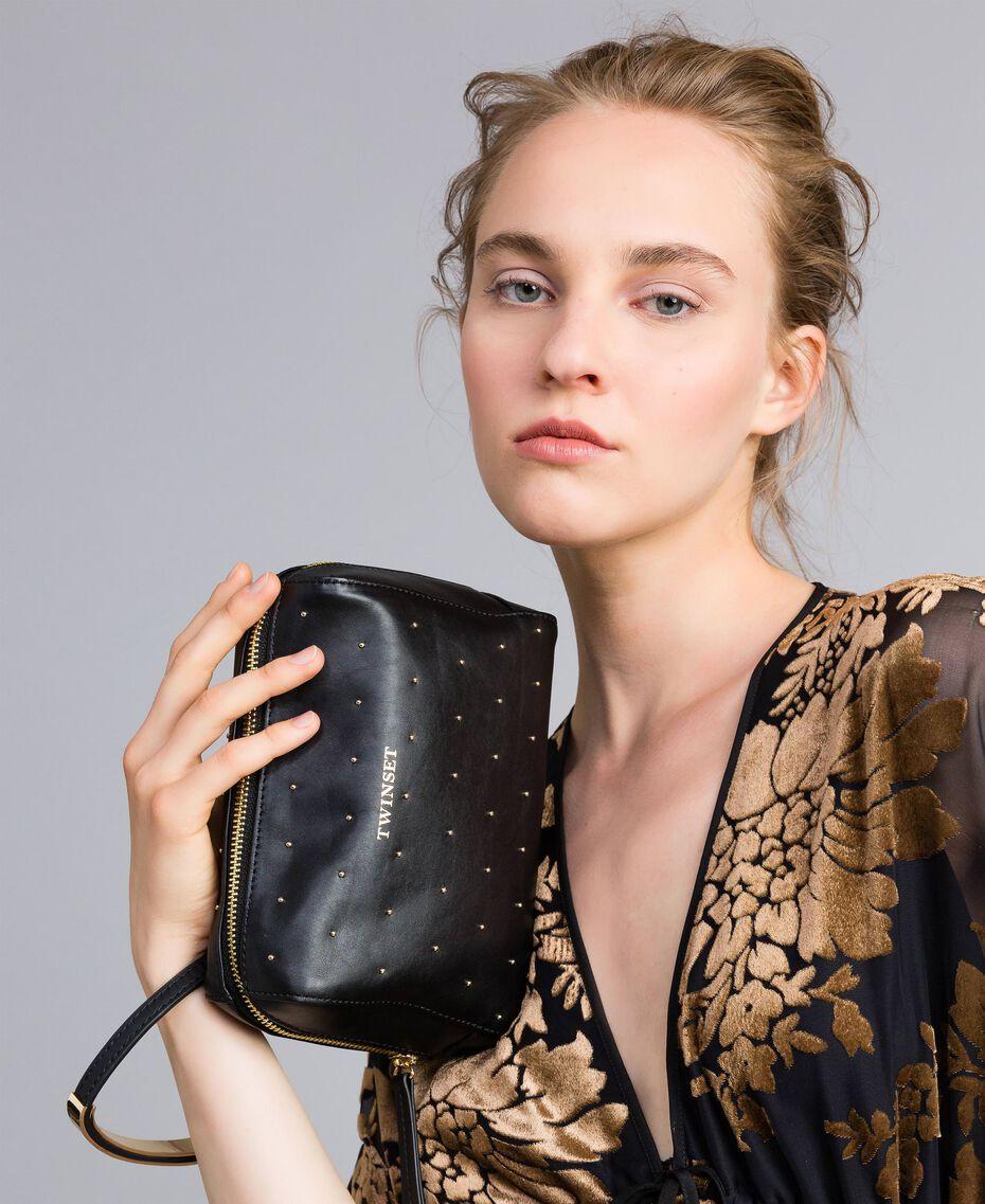 Kosmetiktasche aus Leder mit Nieten Schwarz Frau AA8PA2-0S