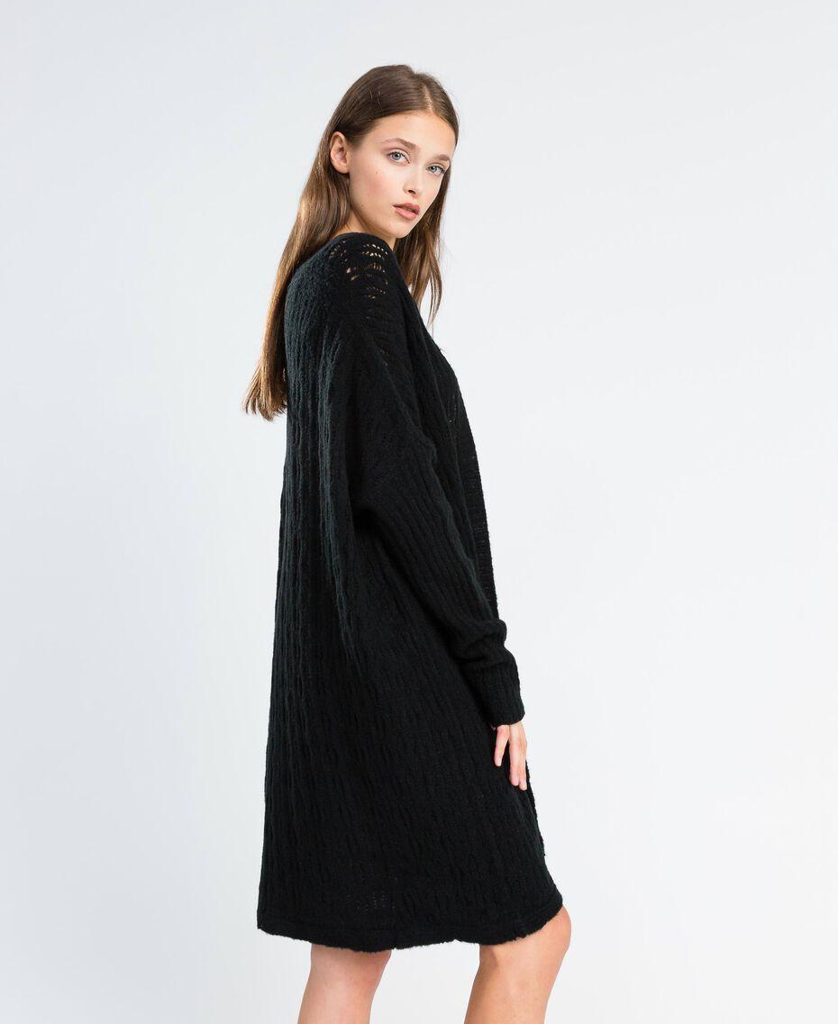 Maxicardigan aus Wollmischung Schwarz Frau LA8PAA-02