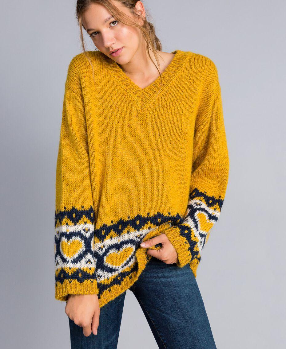 Maxipullover mit Jacquardherzen Golden Yellow Frau YA8312-01
