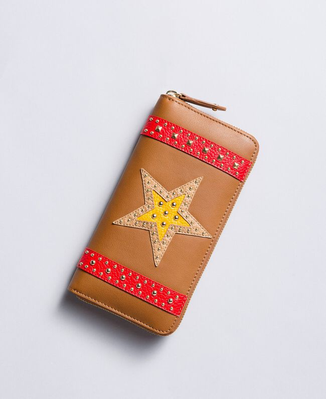 """Faux leather wallet with patch """"Toffee"""" Brown Star Woman RA8TGP-01"""