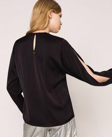 Blouse avec franges brodées Noir Femme 201TP2283-04