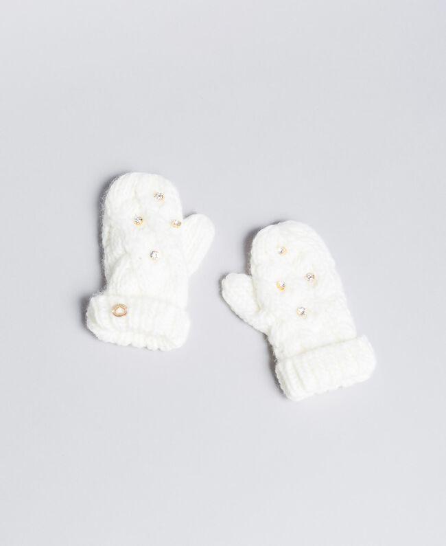 Moffole in maglia a trecce con strass Off White Bambina GA8GCT-01