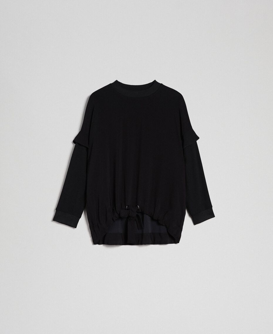 Georgette blouse with drawstring Black Woman 192TP2381-0S