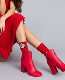 Chaussettes agrémentées de pierres Rouge Coquelicot Femme QA8TKE-0S