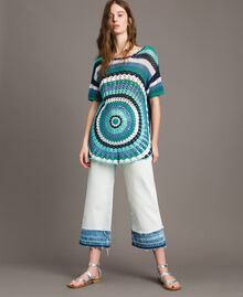 Maxi pull en crochet avec lurex Multicolore Crochet Bleu Nuit Femme 191MT3050-0T