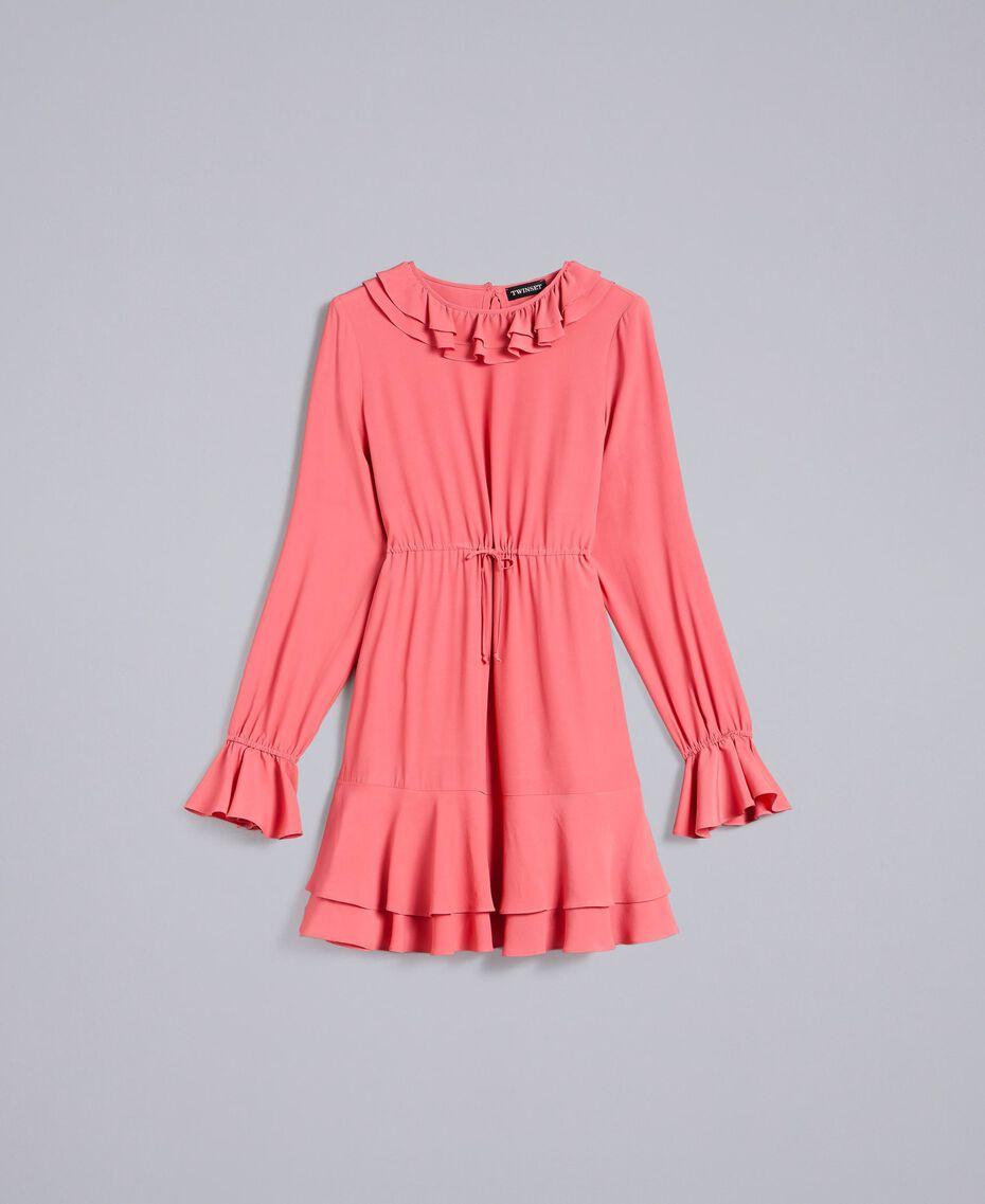 Kurzes Kleid aus Seidenmischung Royal Pink Rosa Frau PA827A-0S