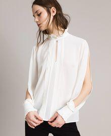 Rüschen-Bluse aus Seidenmischung Weiß Schnee Frau 191TP2135-01