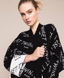 Cardigan jacquard avec logo Bicolore Noir / Blanc Neige Femme 201TP3130-04