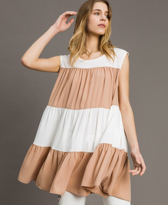 Jersey and muslin mini dress