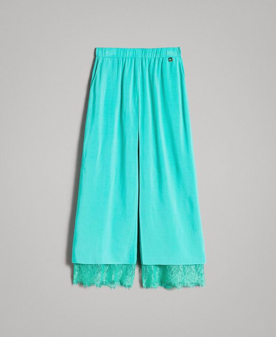 Flowing fabric trousers with lace