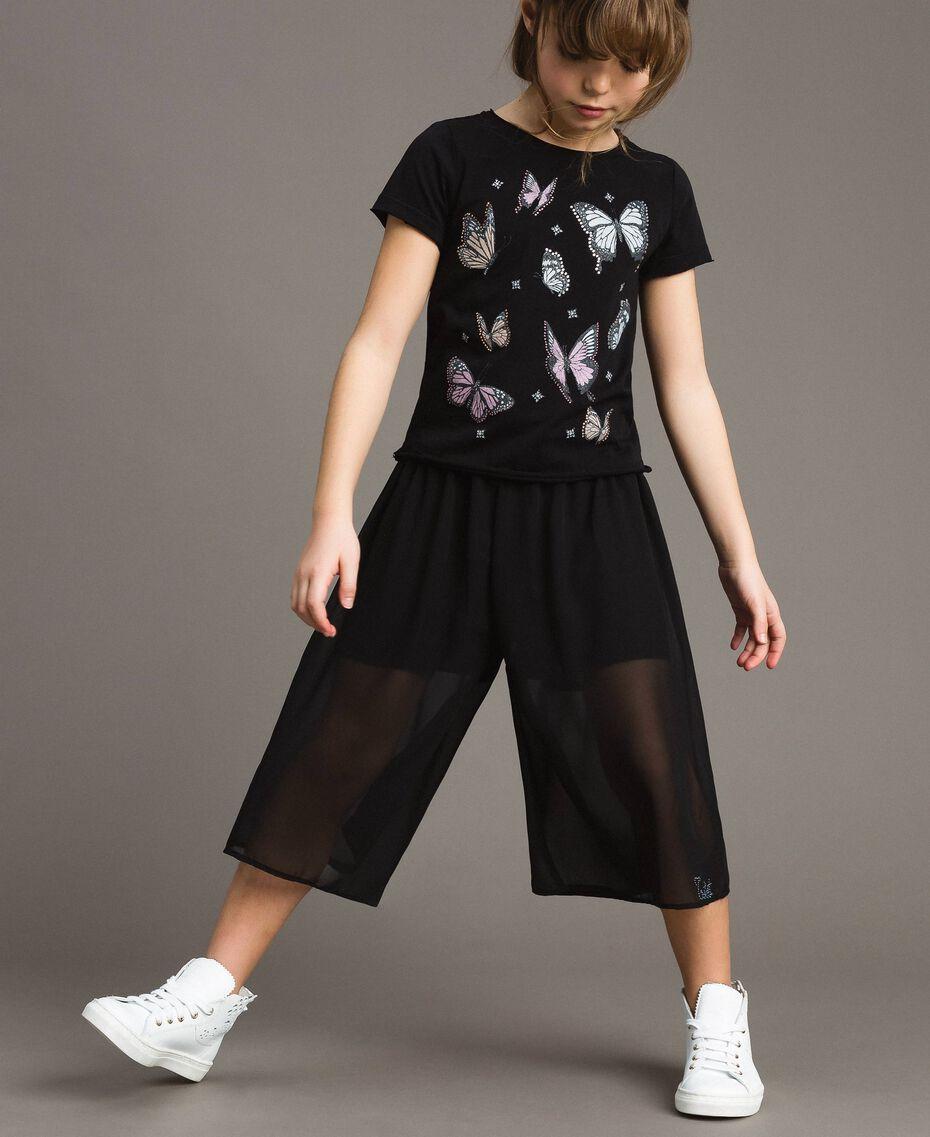 T-Shirt aus Jerseystoff mit Schmetterlingen und Strass Schwarz Kind 191GJ2310-02
