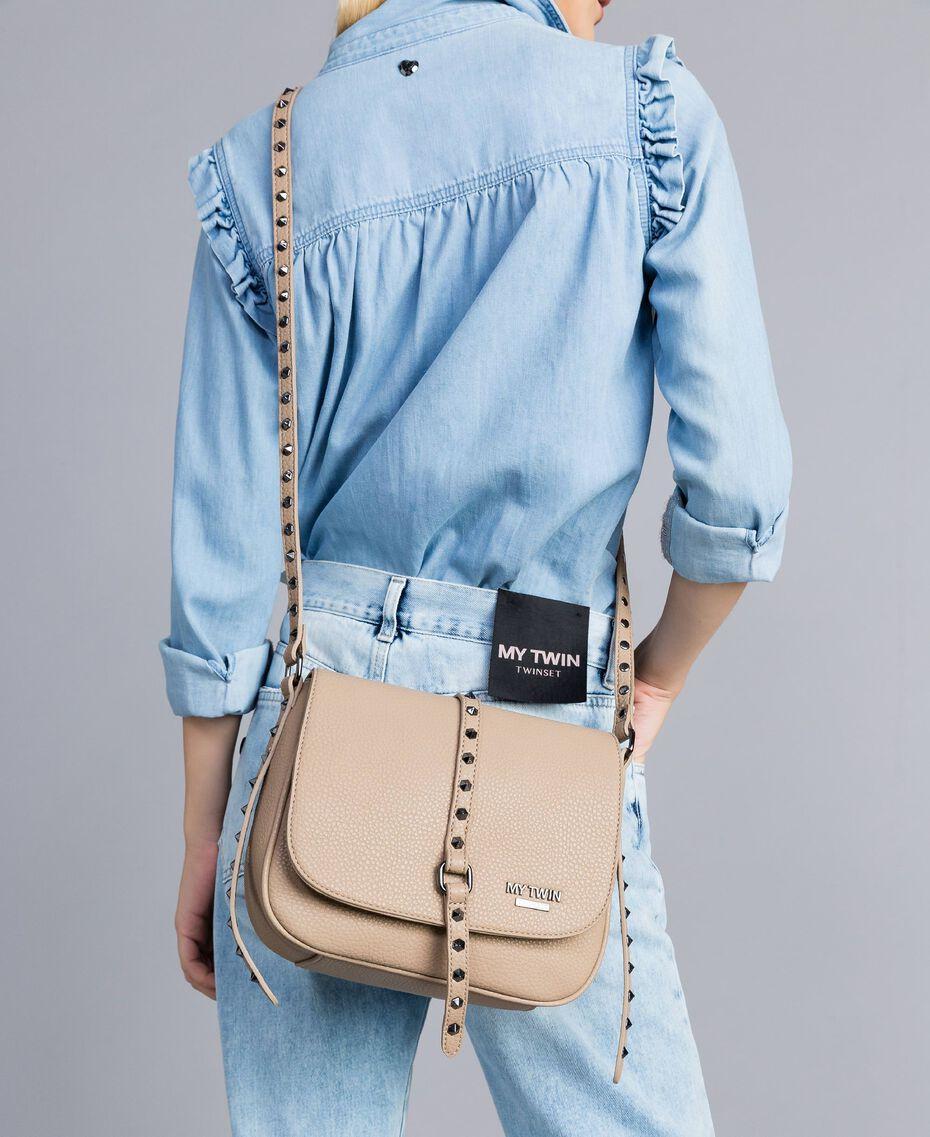 Faux leather animal print shoulder bag Turtledove Woman VA8PAG-0S