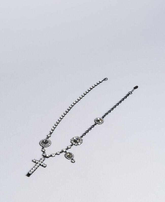 Halskette mit Chatons und Strass Zweifarbig Schwarz / Kristall Frau AA8P8A-01
