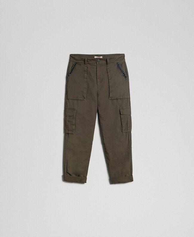 99810cfbcd Pantaloni combat con pietre e borchie Donna, Verde | TWINSET Milano