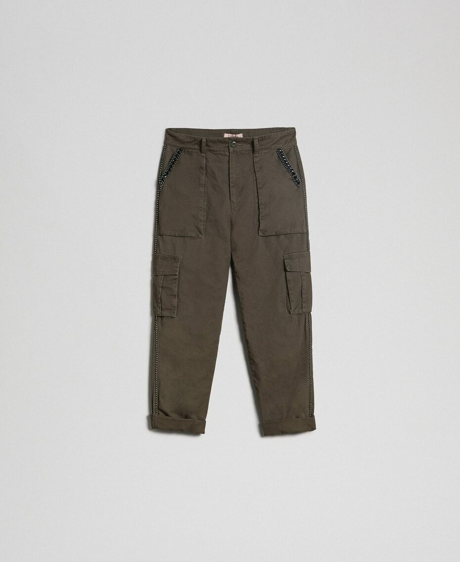 """Combat trousers with stones and studs """"Caper"""" Green Woman 192TP2583-0S"""