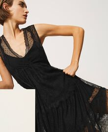 Tulle long dress with lace and fringes Black Woman 202TP2372-05