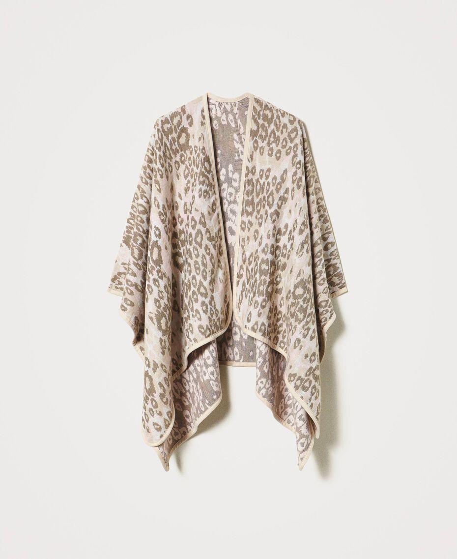 "Animal print jacquard wool cloth poncho ""Dune"" Beige Animal Print Woman 202MA432F-0S"