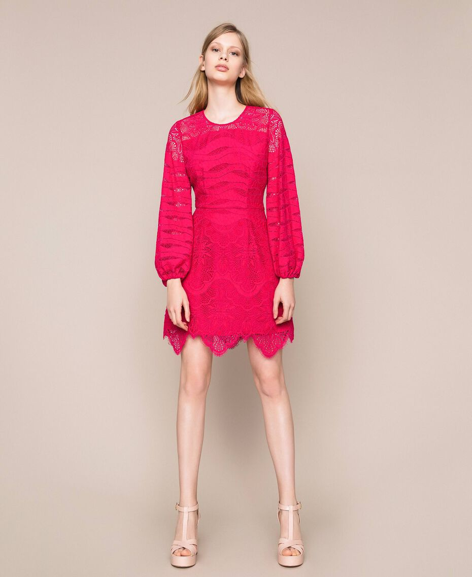 Macramé lace dress Black Cherry Woman 201TP2031-01