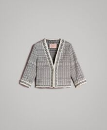 "Ethnic-motif jacquard jacket ""Marzipan"" Beige / Black Jacquard Woman 191TT2431-0S"