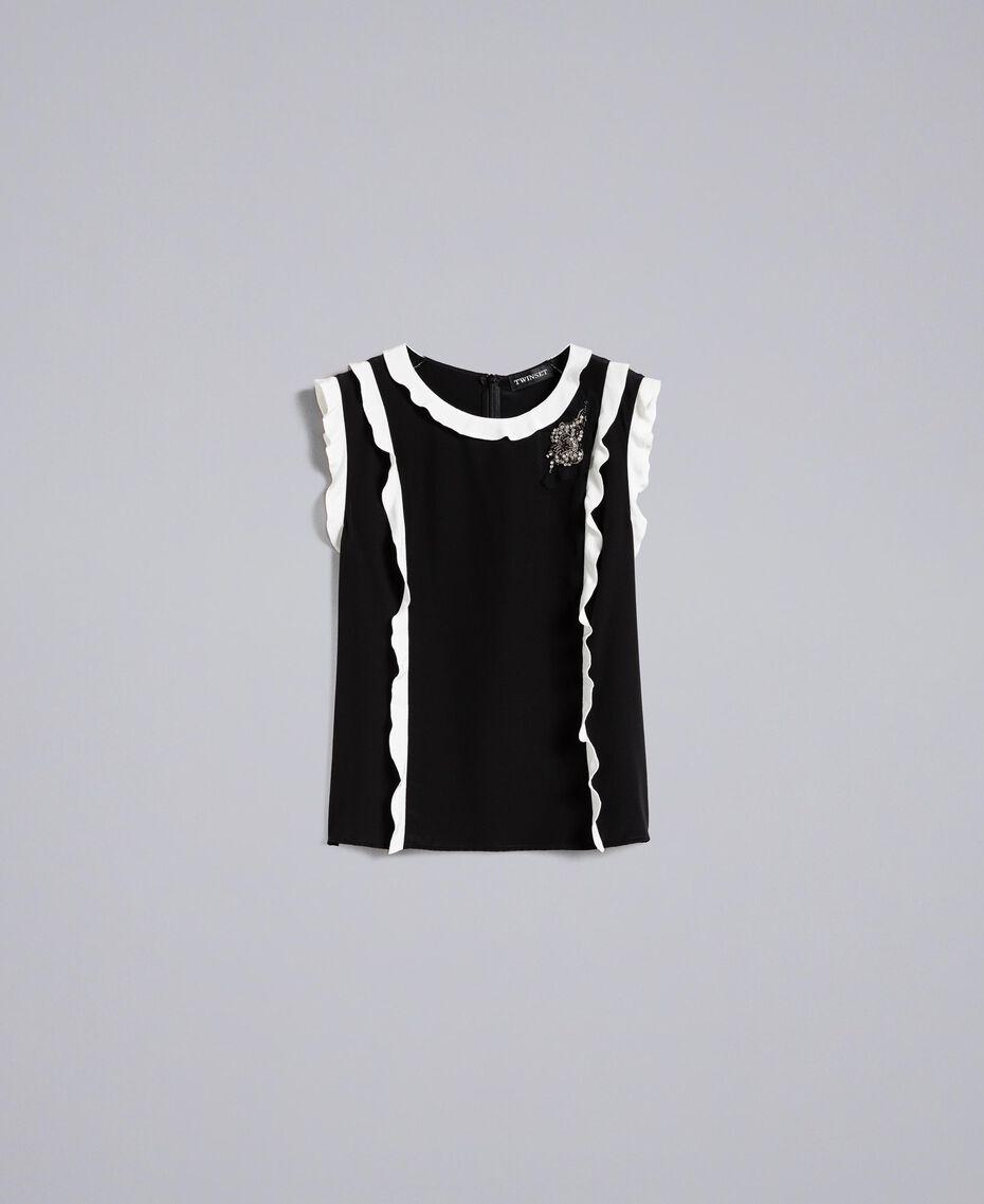 "Silk top with ruches Bicolour Black / ""Snow"" White Woman PA82ES-0S"
