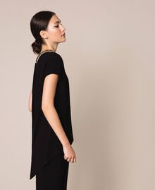 Asymmetric top with embroidery Black Woman 201LB25EE-02