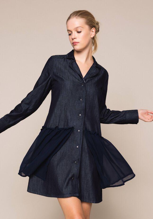 Denim shirt dress with rhinestones