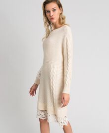Wool blend dress with mixed stitches and lace Creamy White Woman 192ST3051-03