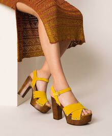 Suede clog sandals Ochre Yellow Woman 201MCT01A-0S