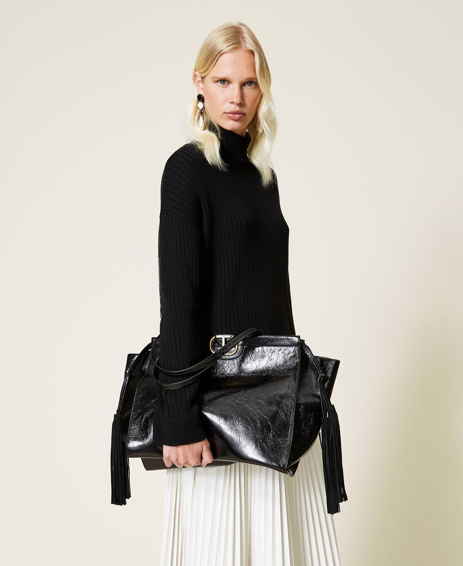 Leather shopper with fringes Black Woman 212TB7110-0S