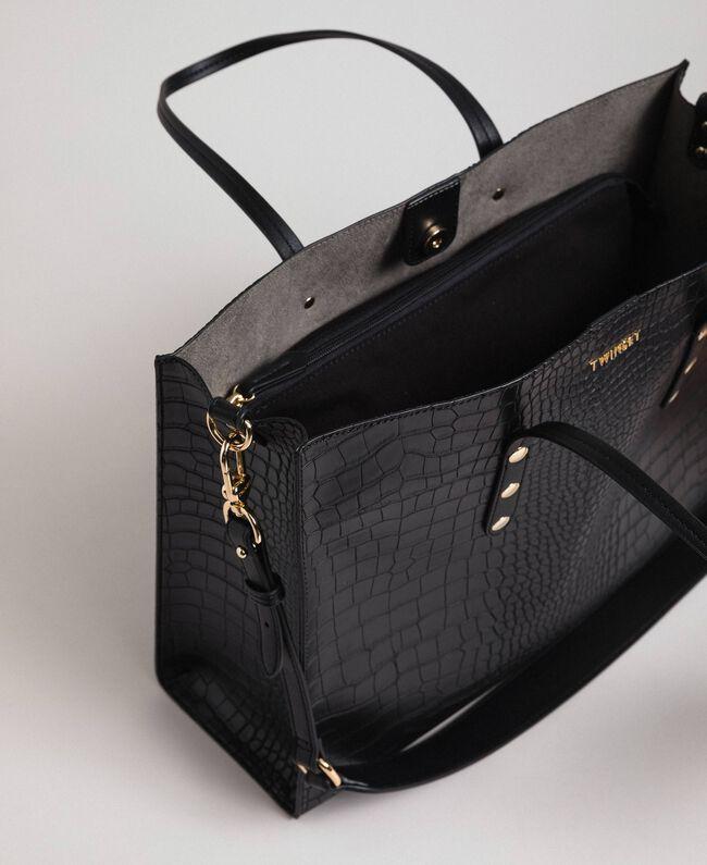 Grand sac cabas avec imprimé crocodile Imprimé Croco Noir Femme 192TA7274-05