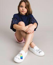 Slip on in pelle con stampa Bianco Bambina 191GCJ052-0S