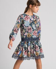 Crêpe dress with floral and graffiti print Graffiti Print Child 192GJ2491-01