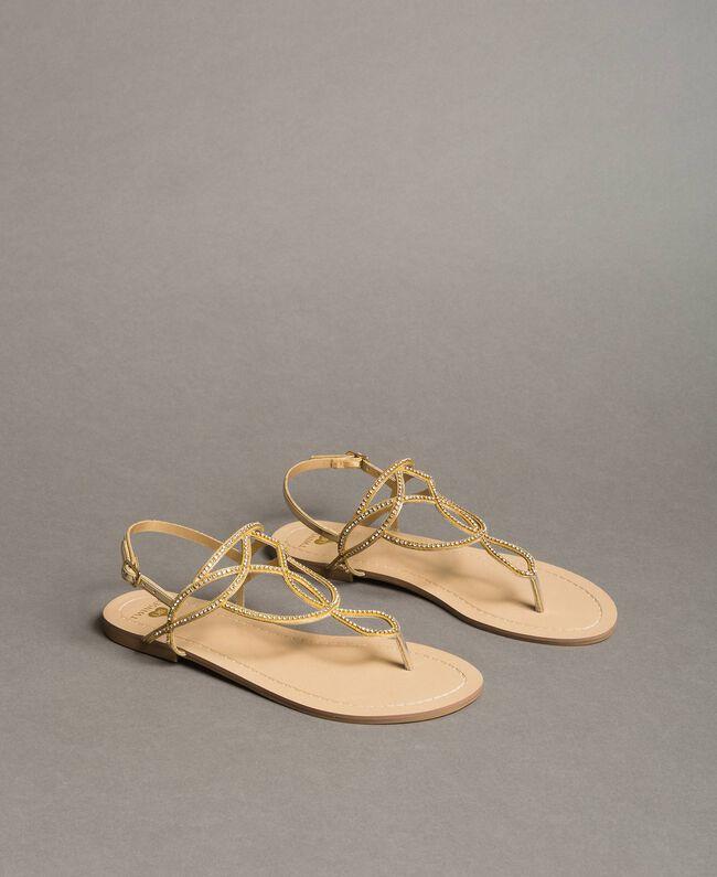 """Sandales plates avec strass Or """"Doré"""" Femme 191LM4ZSS-01"""