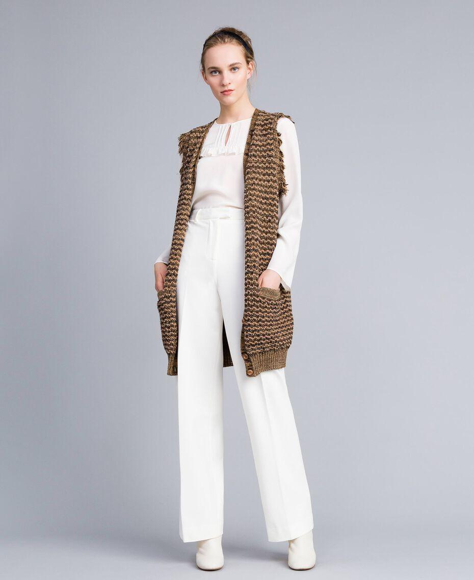 Maxi gilet en jacquard lurex Jacquard Camel Lurex Femme PA835D-02