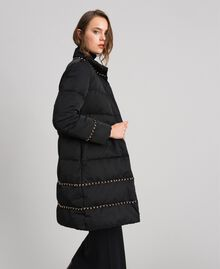 Quilted long puffer jacket with chains Black Woman 192TP2141-01
