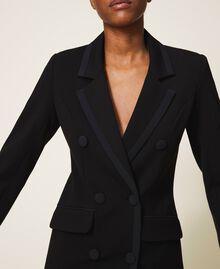 Blouson long avec détails en crêpe de Chine Noir Femme 202MP2291-06