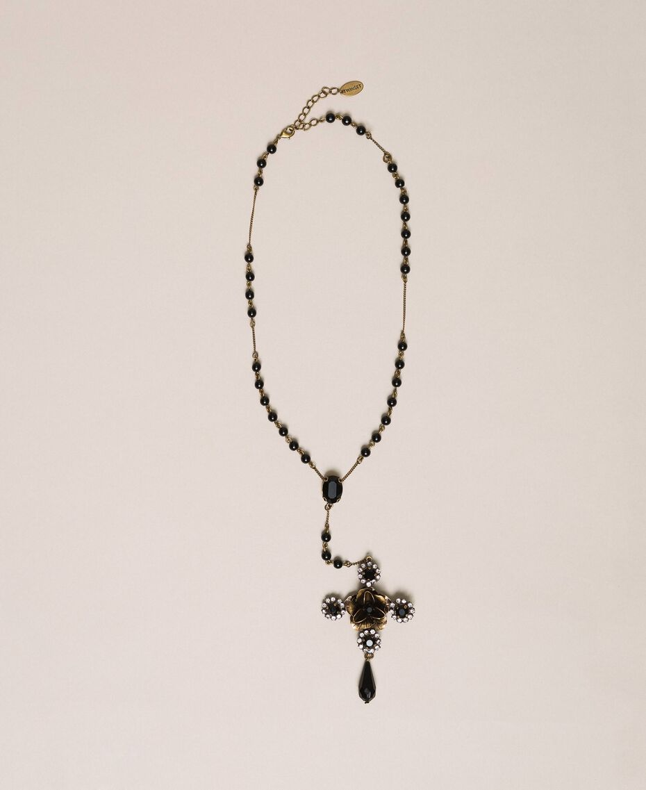 Rosary necklace with cross and teardrop pendant Black Woman 201TA4309-01