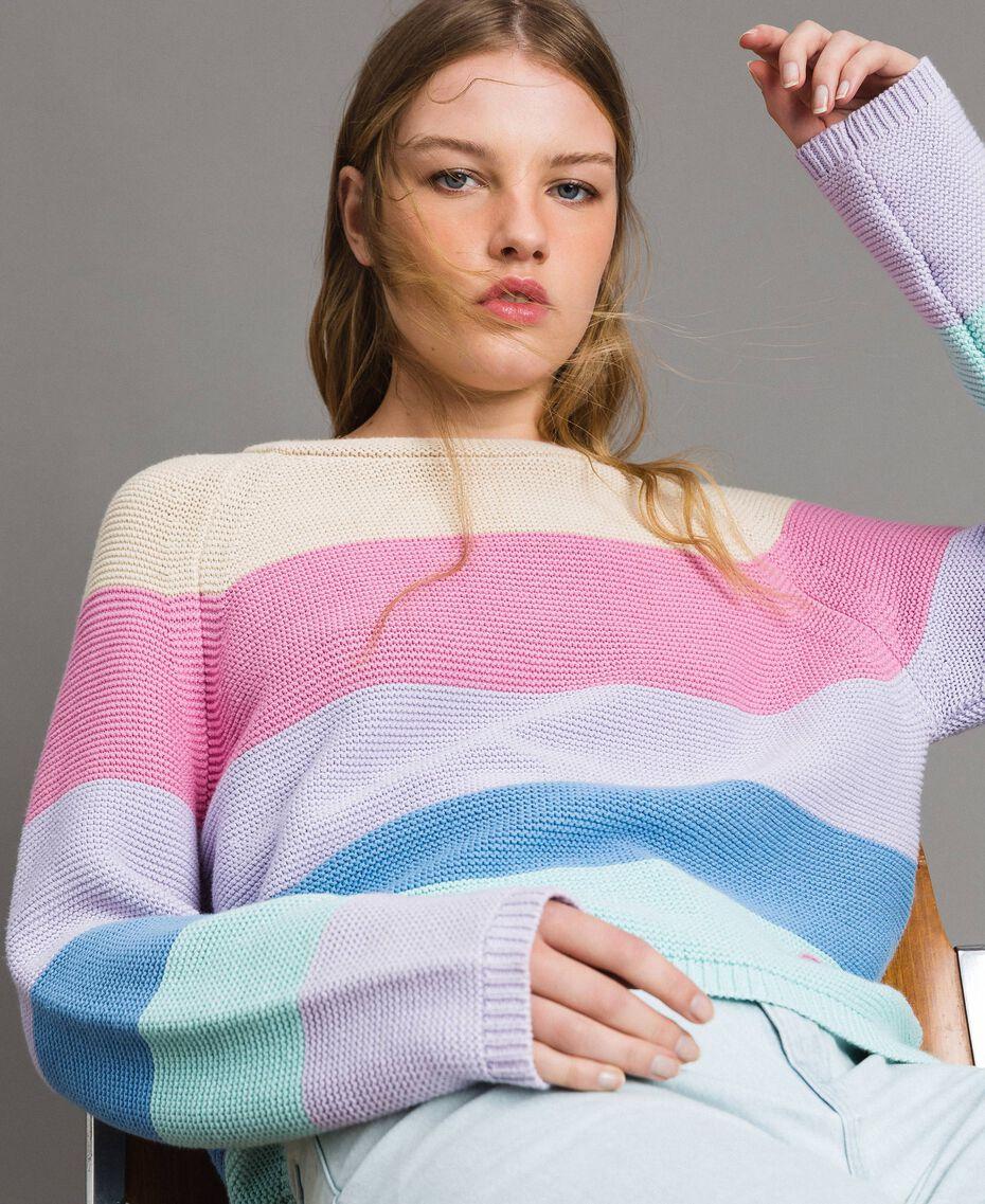 Pull à rayures avec détail cœur Multicolore Couleur Pastel Femme 191MP3011-01