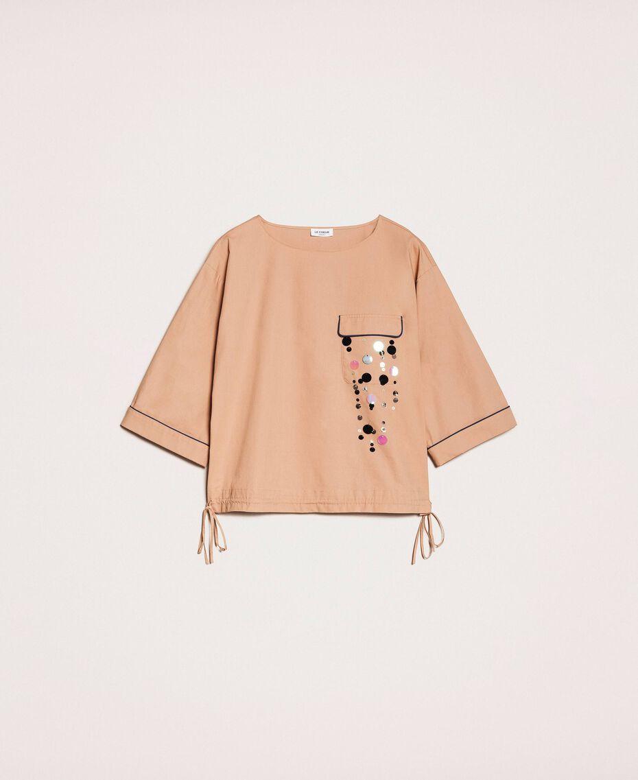 Blusa in popeline ricamo di paillettes Light Brown Donna 201ST2025-0S
