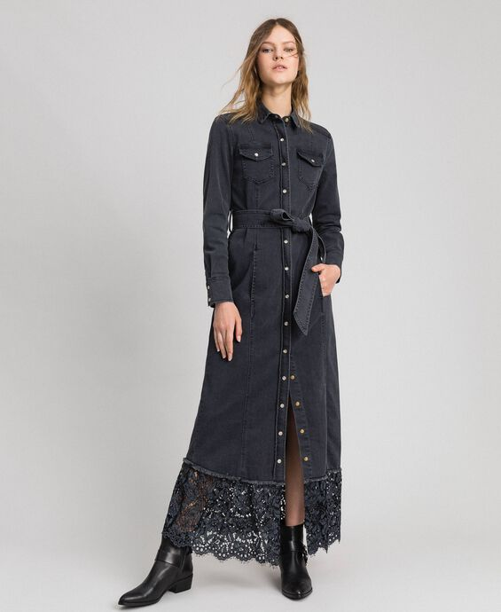 Black denim shirt dress with lace flounce