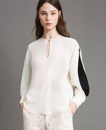 Bluse aus Seidenmischung Weiß Schnee Frau 191TP2141-03