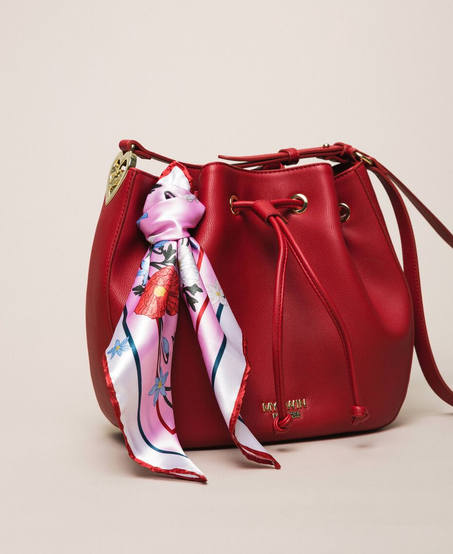 Сумка-мешок из искусственной кожи с платком Красный Венецианский женщина 201MA7082-01