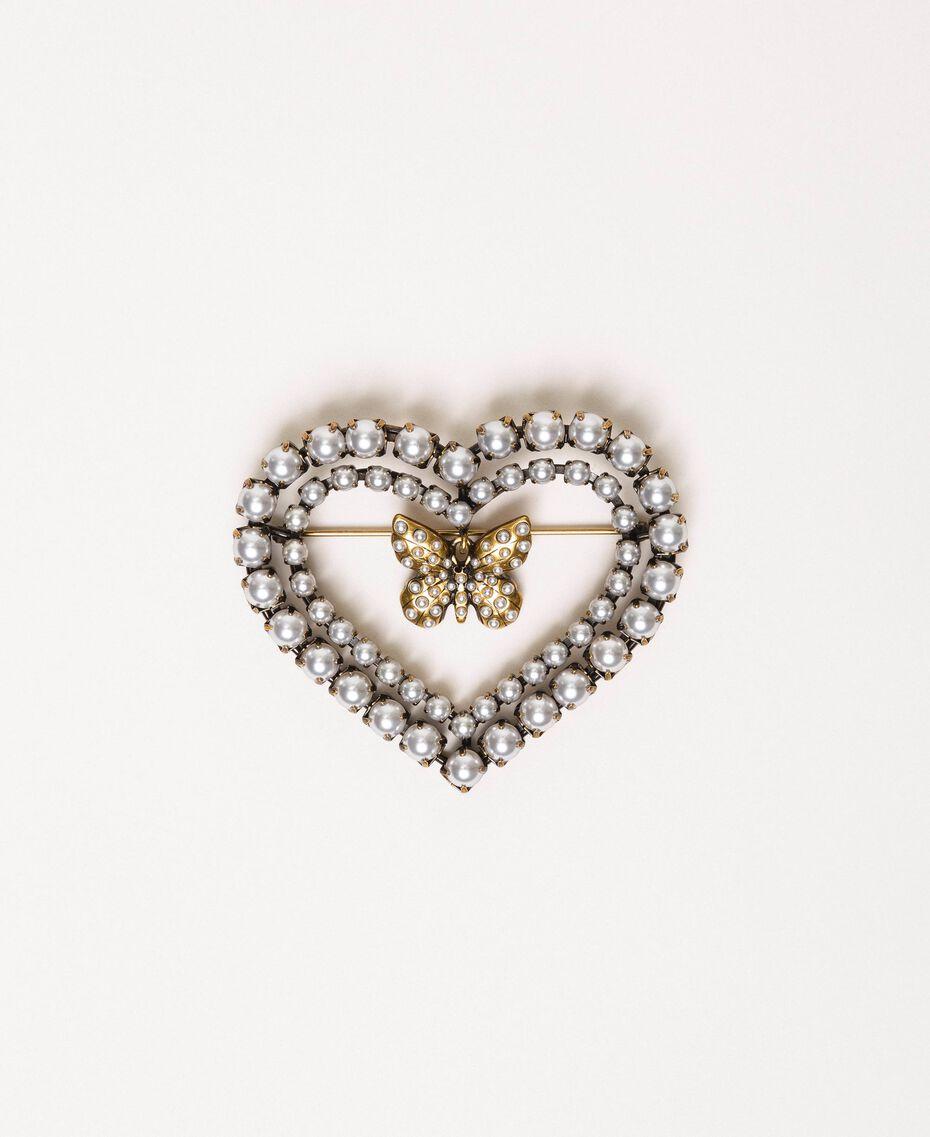 """Брошь-сердце с жемчугом и бабочкой Золотой """"Состаренная медная латунь"""" женщина 201TA430G-01"""