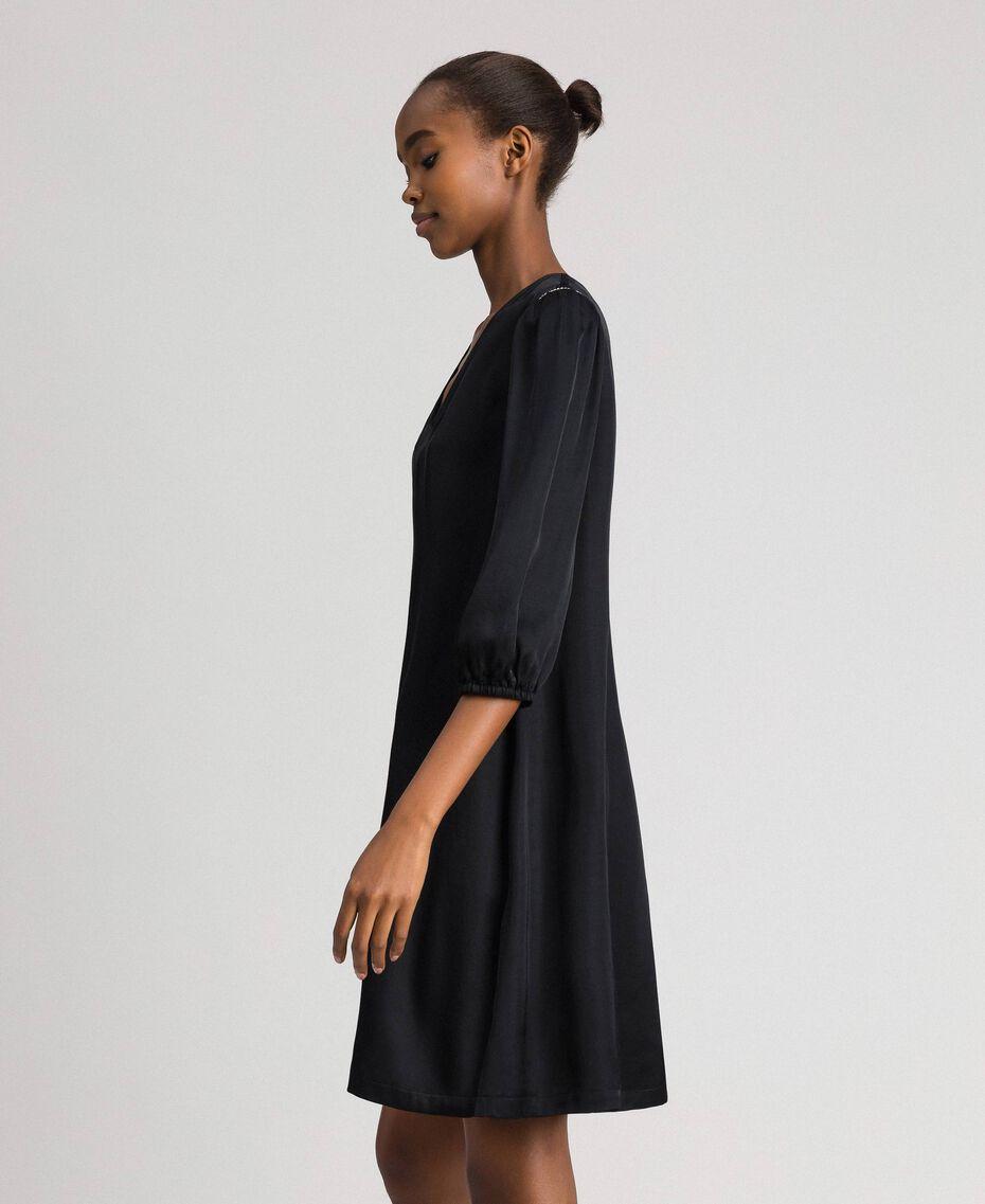 Kleid aus Satin mit Strass Schwarz Frau 192LI21SS-02