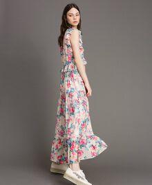 Robe en georgette à volants et froufrous Imprimé Fleur Tissu Blanc Femme 191MP2330-02