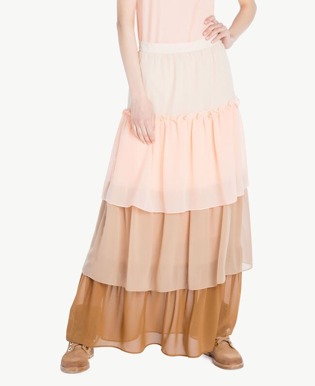 "Long flounce skirt Multicolour ""Rope"" Beige Woman SS82DE-01"